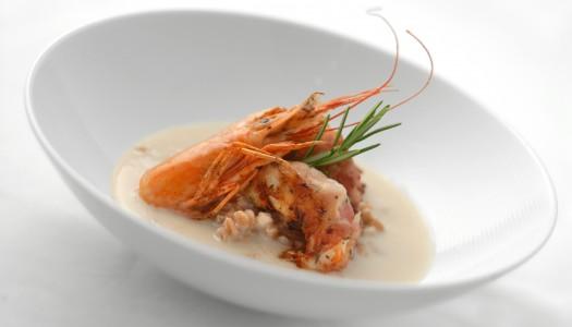 Zuppa di Fagioli Zolfini con farro e mazzancolle al lardo di Colonnata
